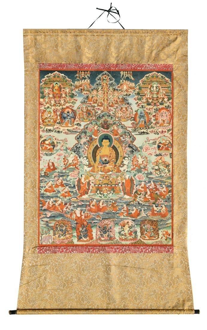 An impressive Tibetan thangka, depicting Buddhist