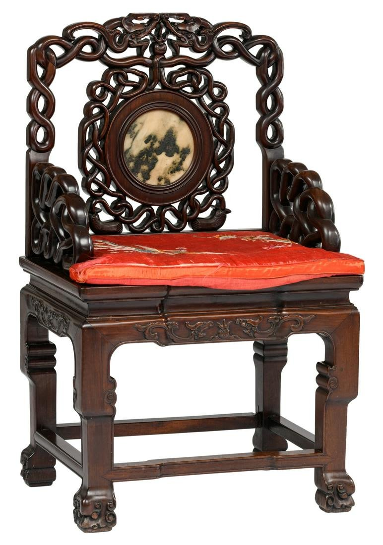 A Chinese exotic hardwood chair with a marble dream