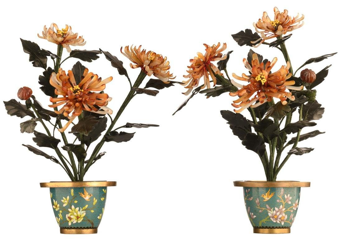 Two Chinese floral jade and agate trees with cloisonne