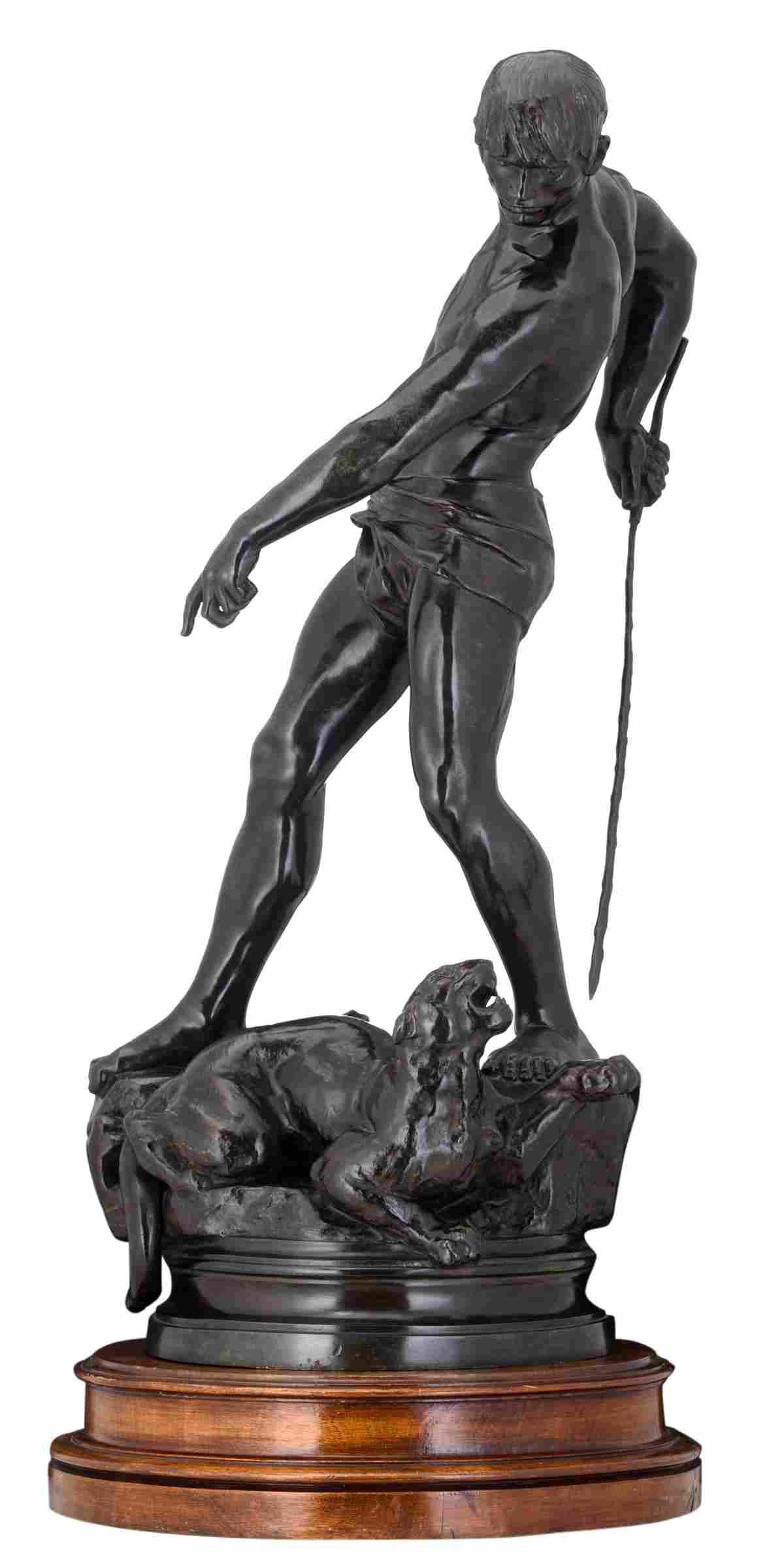 Ferrary M., 'Homme combattant une lionne', patinated