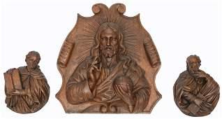 An oak alto relievo depicting Salvator Mundi; added two