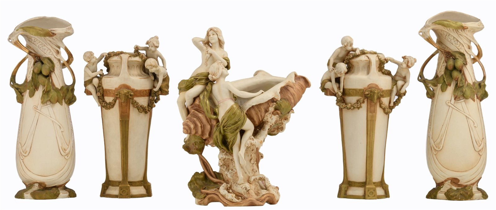 Two pairs of Art Nouveau style Royal Dux vases and one