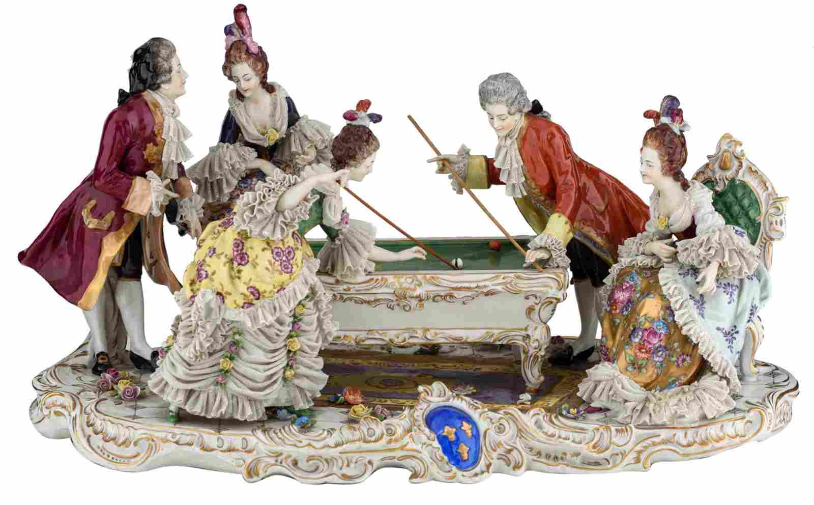 A Rococo style polychrome decorated Saxony porcelain