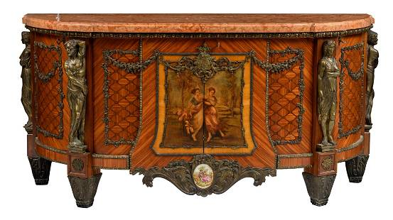 A French ormolu mounted mahogany and cherrywood