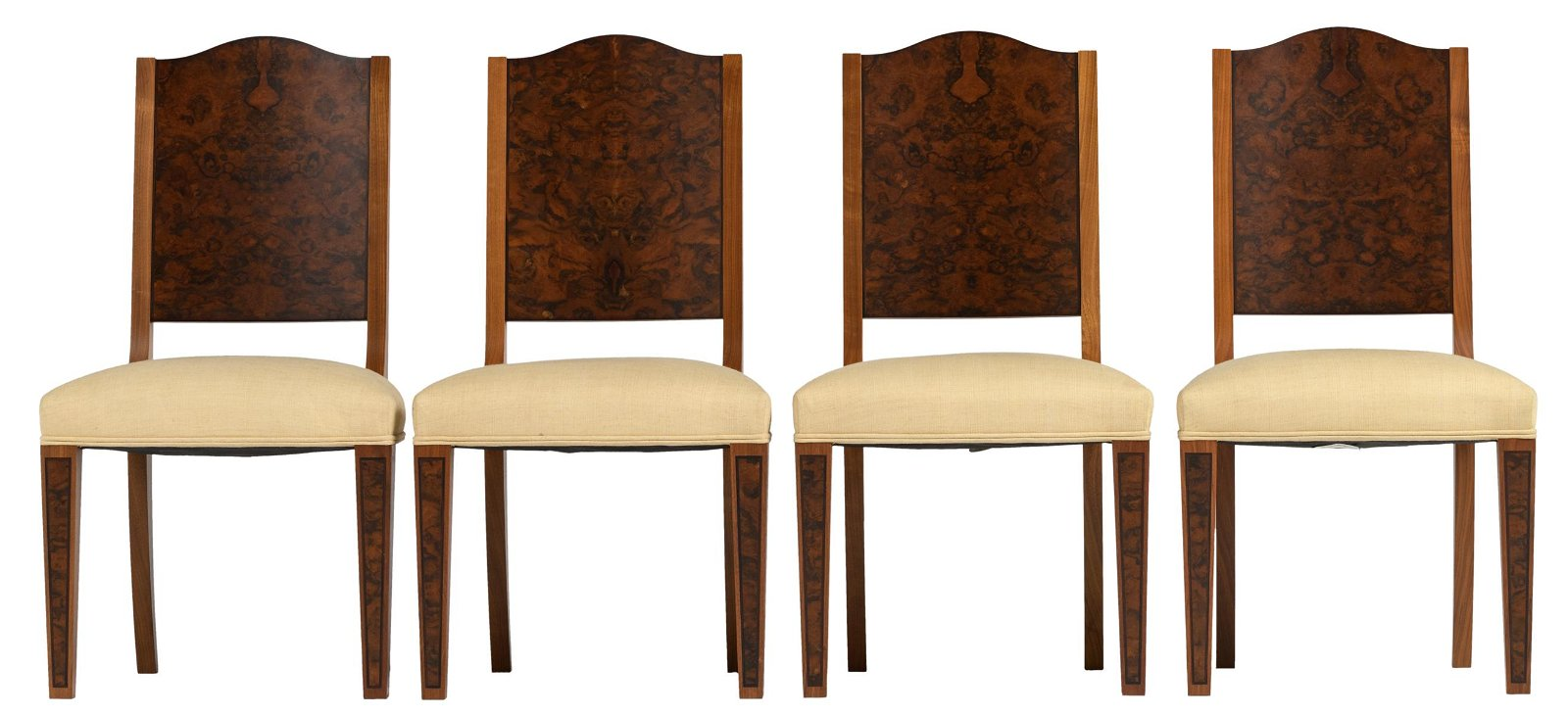 A set of four walnut and burl marquetry chairs by David
