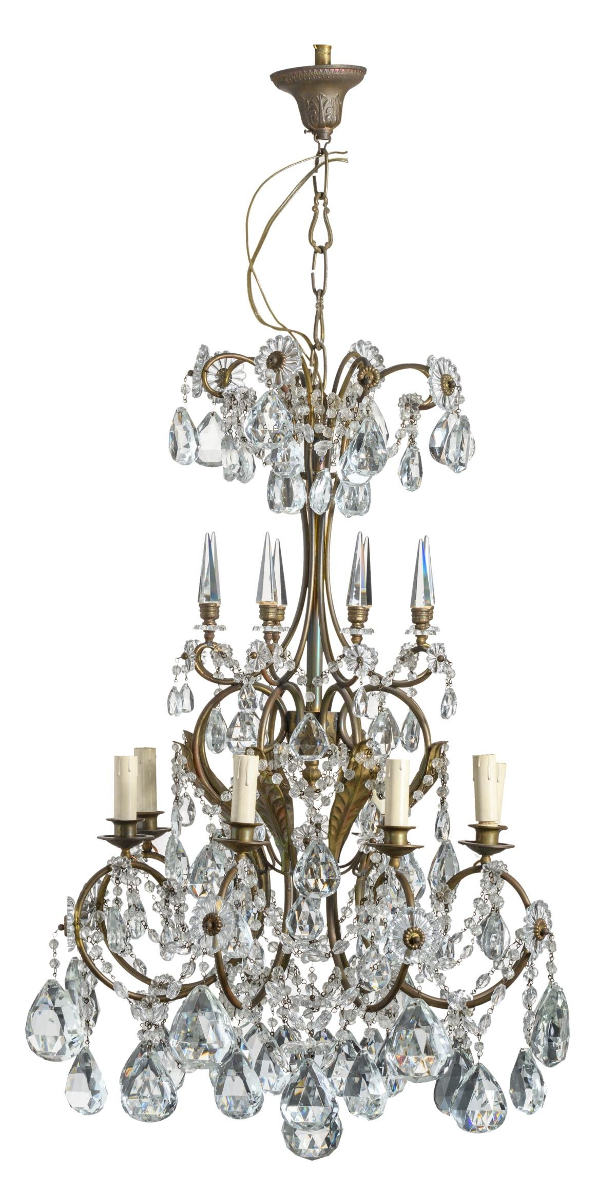 A floral decorated gilt brass chandelier with cut