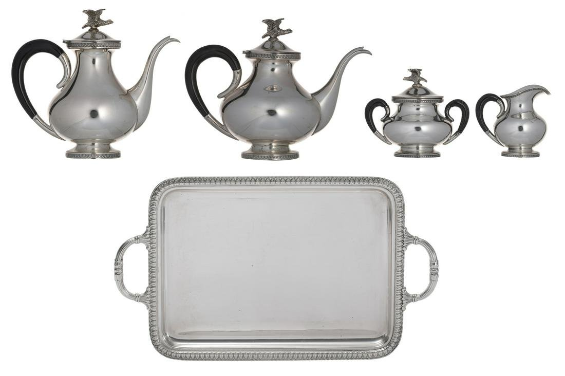 A five piece silver coffee and tea set, late