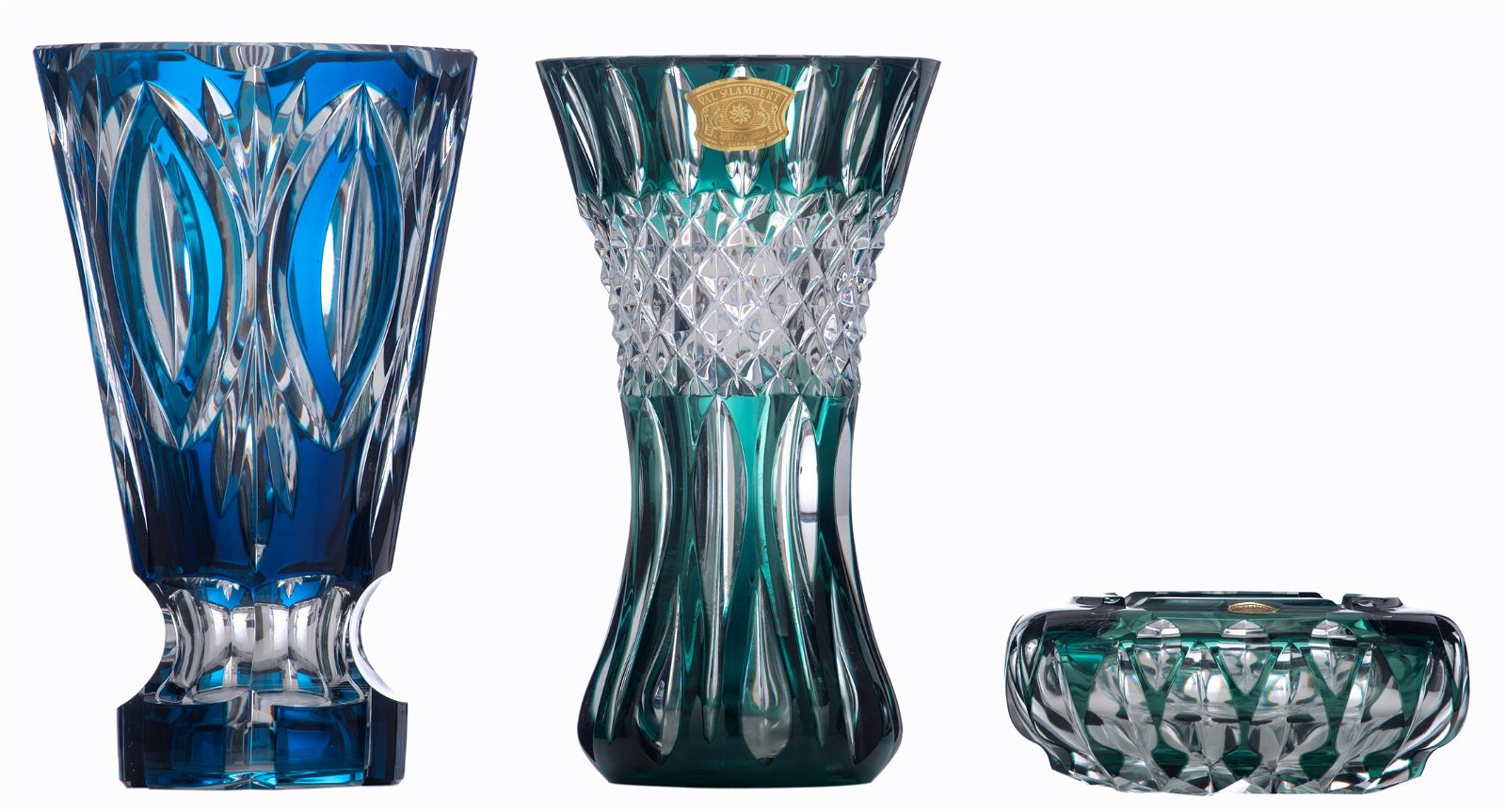 A lot of two Val-Saint-Lambert overlay crystal vases;
