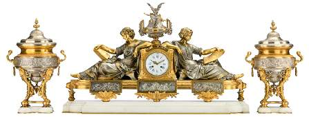 A fine neoclassical gilt and silver plated bronze