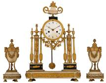 A threepart neoclassical gilt bronze mantel clock