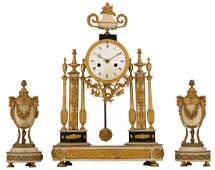 A three-part neoclassical gilt bronze mantel clock
