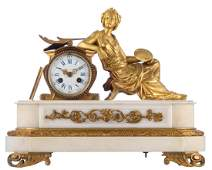 A gilt bronze mantel clock with an allegory of painting