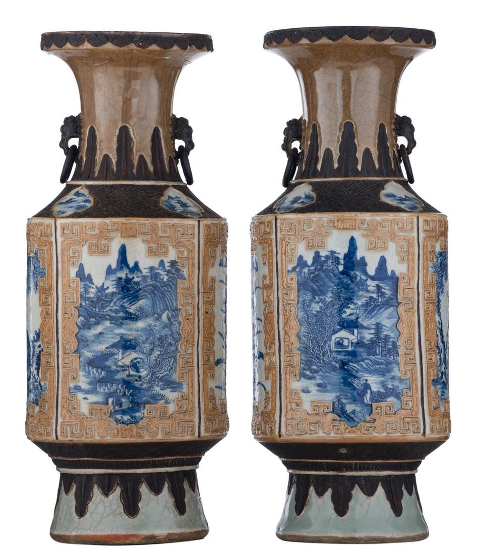 A pair of Chinese stoneware vases, the roundels blue
