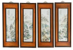 Four framed Chinese polychrome decorated porcelain