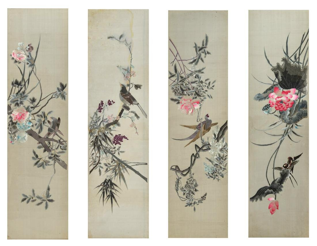 Four framed Chinese embroideries on silk, depicting