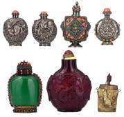 Two Chinese snuff bottles in semi-precious stones and
