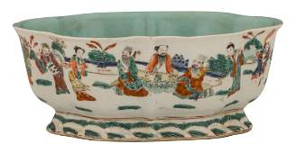 A Chinese polychrome footed plate decorated with the