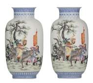 Two Chinese Republic period polychrome vases, decorated