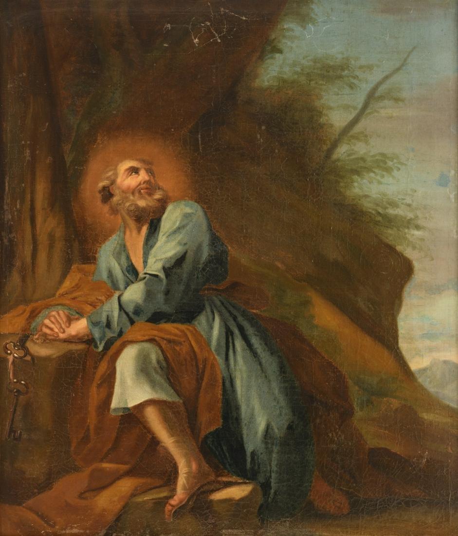 No visible signature, Saint Peter, oil on canvas,