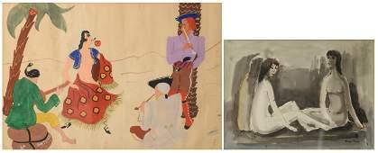 Devos P., female nudes, Indian ink washed bistre