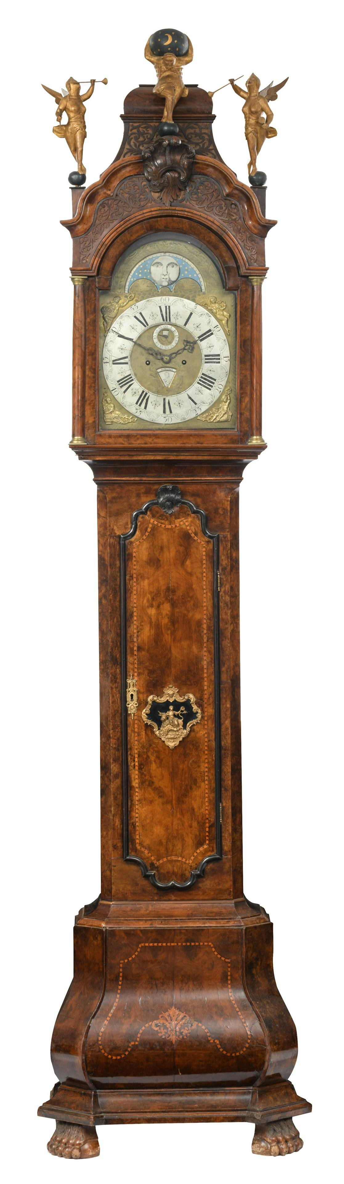 A Dutch burl wood and marquetry veneered 'Amsterdammer