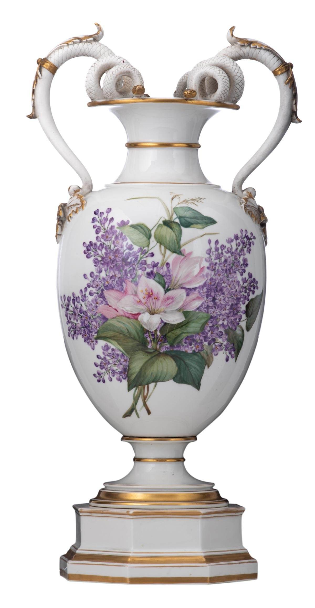 A late 19th - early 20thC Berlin porcelain vase,