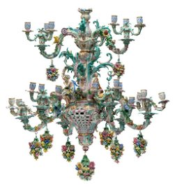 A large Meissen porcelain figural chandelier with