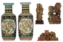 Three Chinese soapstone sculptures; added a pair of