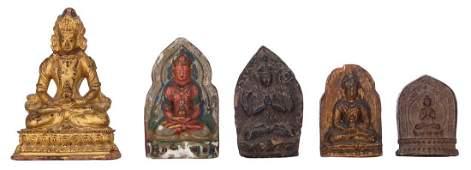 Four Oriental pottery clay relief Tsa Tsa figures,