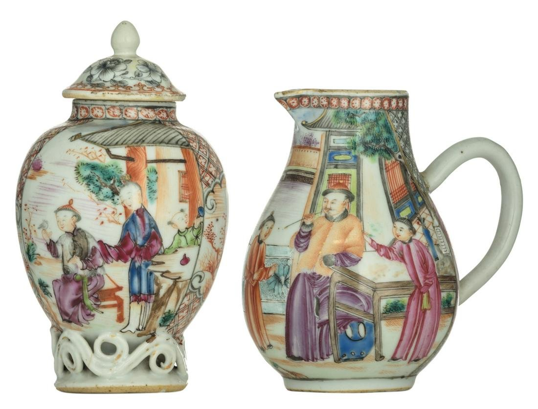 A Chinese gilt and polychrome tea caddy, decorated with