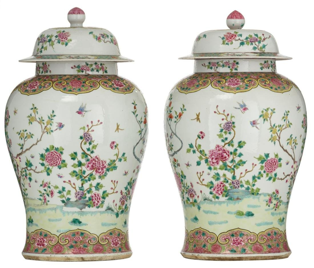 A pair of large famille rose vases and covers,