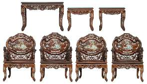 A fine Chinese exotic hardwood salon set, consisting of