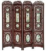 A Chinese rosewood four-panel screen, decorated with