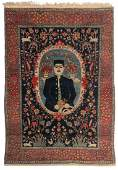 An Oriental woollen rug decorated with a male figure