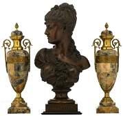 Clere P., 'Eglantier', patinated bronze bust on a noir
