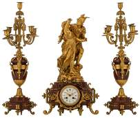 A Neoclassical three-piece rouge Napoleon marble