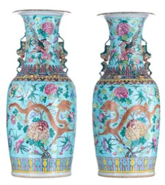 A pair of large Chinese turquoise ground and polychrome