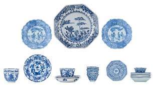 Three Chinese blue and white Kangxi period teacups and