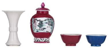 A Chinese white-glazed gu-shaped porcelain miniature