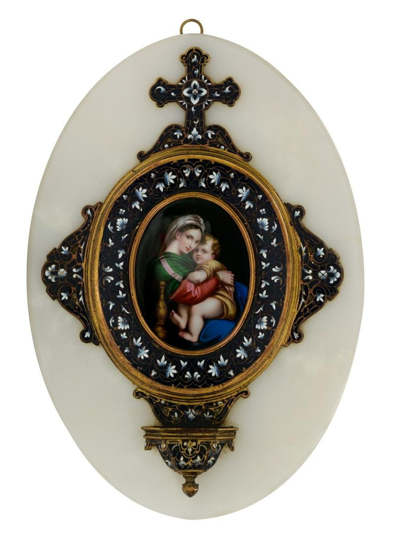 A French champlevé Holy Water font on an onyx marble,