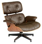 A rosewood and chocolate brown leather upholstered