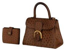 A Delvaux Brillant PM Ostrich leather handbag with
