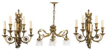A fine pair of Neoclassical ormulu bronze wall lamps,