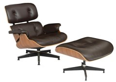 A walnut and chocolate brown leather Eames lounge chair