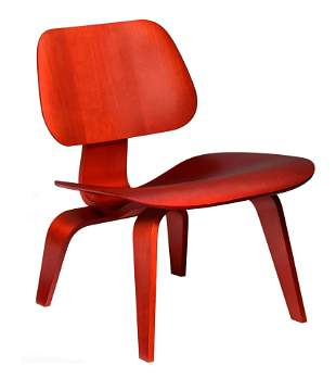 A red stained LCW chair, design by Eames for Herman
