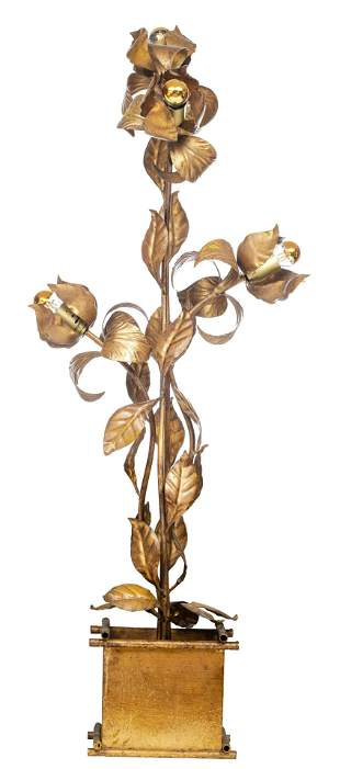 A vintage '70s gilt metal floral-shaped floor lamp by