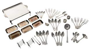 A collection of Belgian Art Deco silver cutlery,