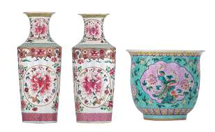A pair of Chinese famille rose floral decorated vases,