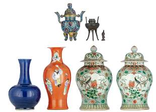 A pair of Chinese famille verte covered vases, the