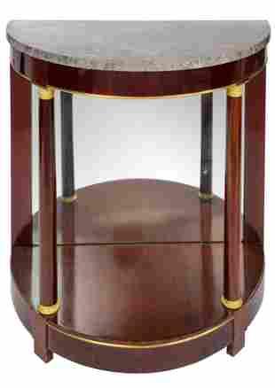 A fine mahogany veneered Empire demi-lune console